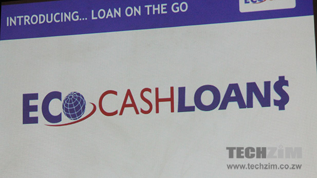 EcoCashLoans logo displayed during presentation at launch