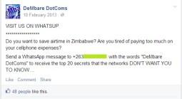 Dembare DotComs Facebook post