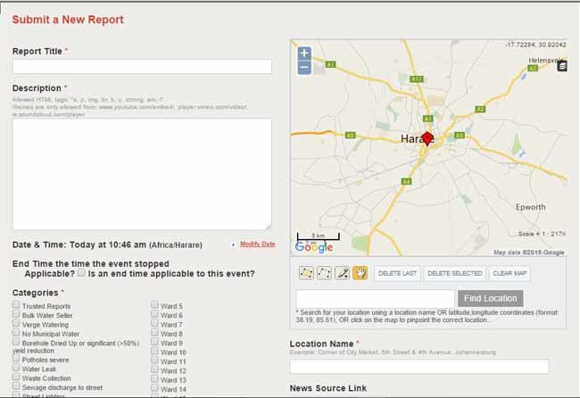 City of Harare, Ushahidi, SMART Harare