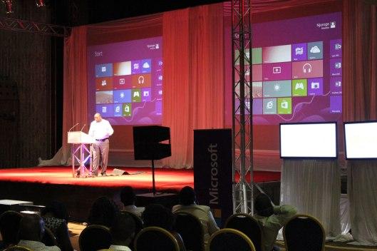 A Microsof representative at launch of Windows 8 in Harare
