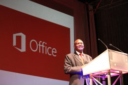 The Zim ICt Ministry Permanent Secretary Sam Kundishora, speaks at the launch of Windows 8 in Harare