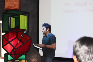 Heeten Baghat, an arts professional, presents at speaks to software developers and designers at the Ideation event