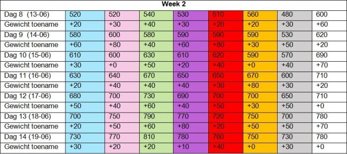 Gewichtentabel week 2