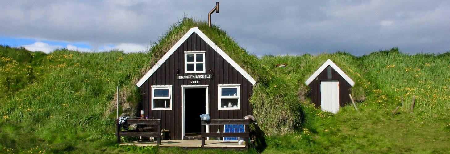 Small house on Drangey bird island
