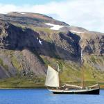 Tecla anchored in one of the Icelandic fjords