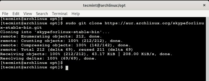 Klonen Sie Skype in Arch Linux