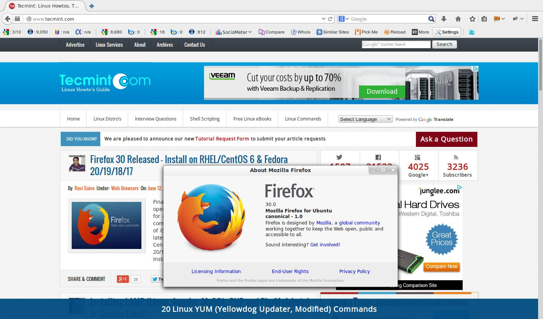 Firefox 30 Released - Install on RHEL/CentOS 6 & Fedora 20/19/18/17