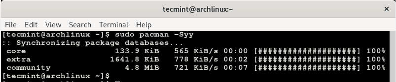 Aktualisieren Sie die Arch Linux-Pakete