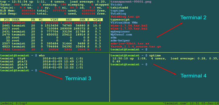 How to Use Tmux Terminal to Access Multiple Terminals Inside a Single Console