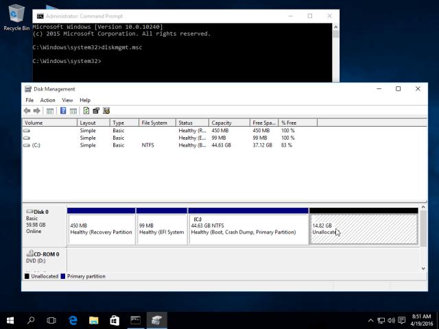 Windows Partition for Dual Boot Ubuntu 16.04