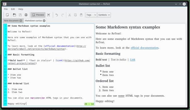 ReText Markdown Editor para Linux