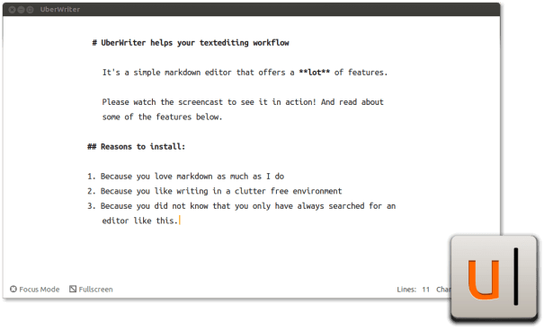 Editor de Markdown do UberWriter para Linux