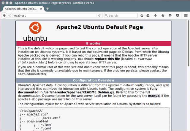 Apache Default Page Under Ubuntu 16.04