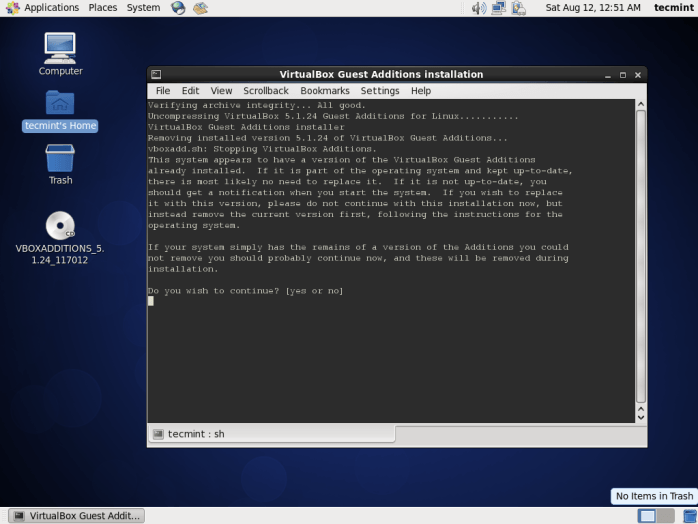 Installing Guest Additions on CentOS