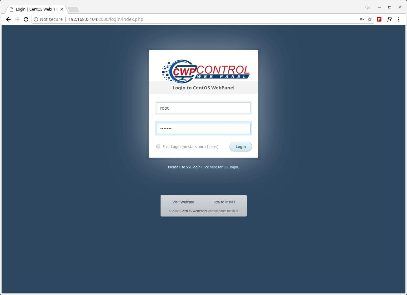CentOS Web Panel Admin Login