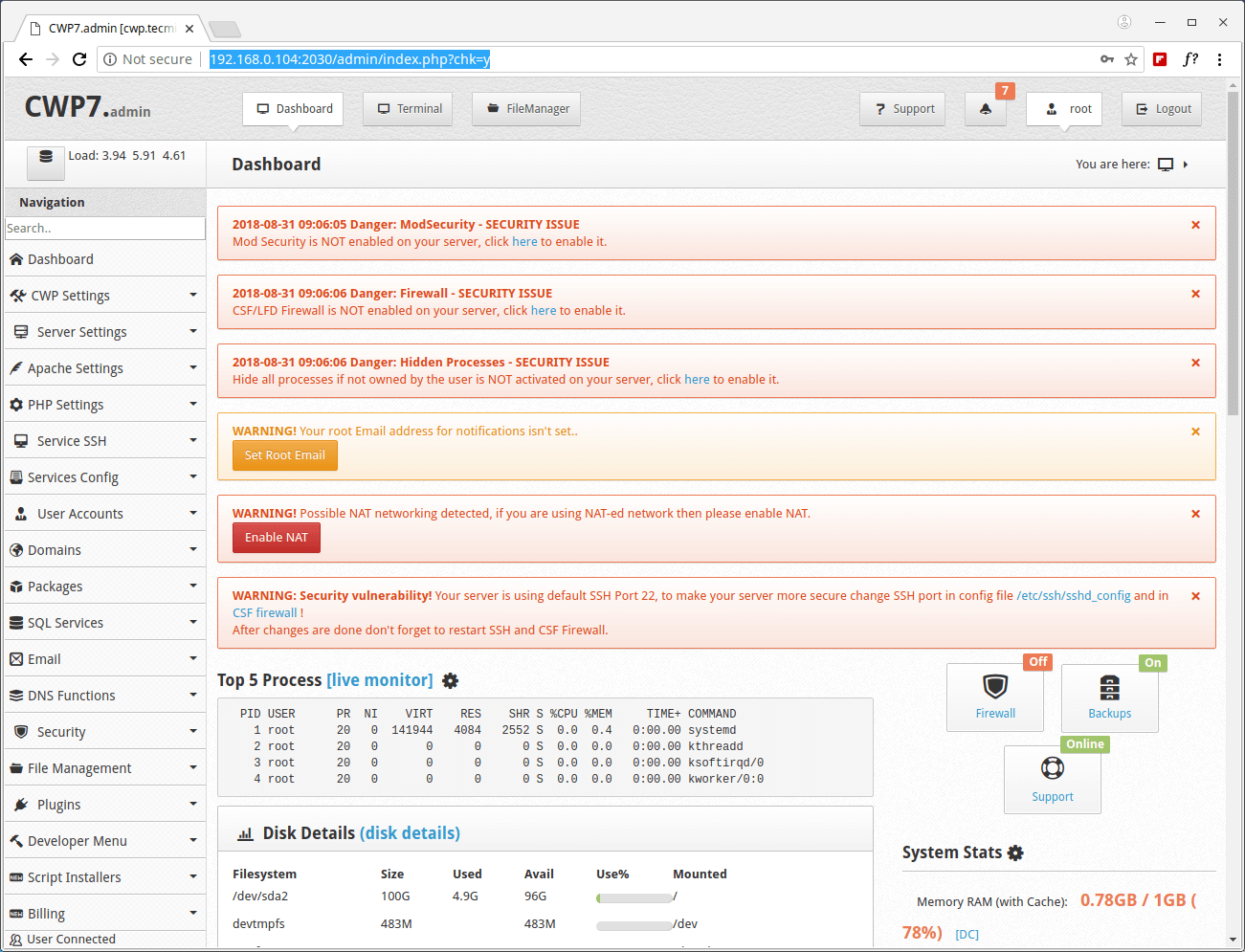 CentOS Web Panel Dashboard