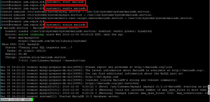 Start MariaDB Service in RHEL 8