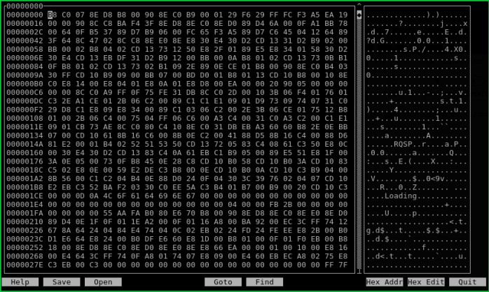 Hexcurse - Hex Editor for Linux