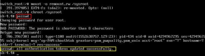 Reset Fedora Root User Password