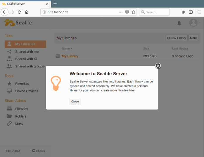 Seafile Welcome Page