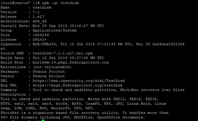 Verify TestDisk on CentOS