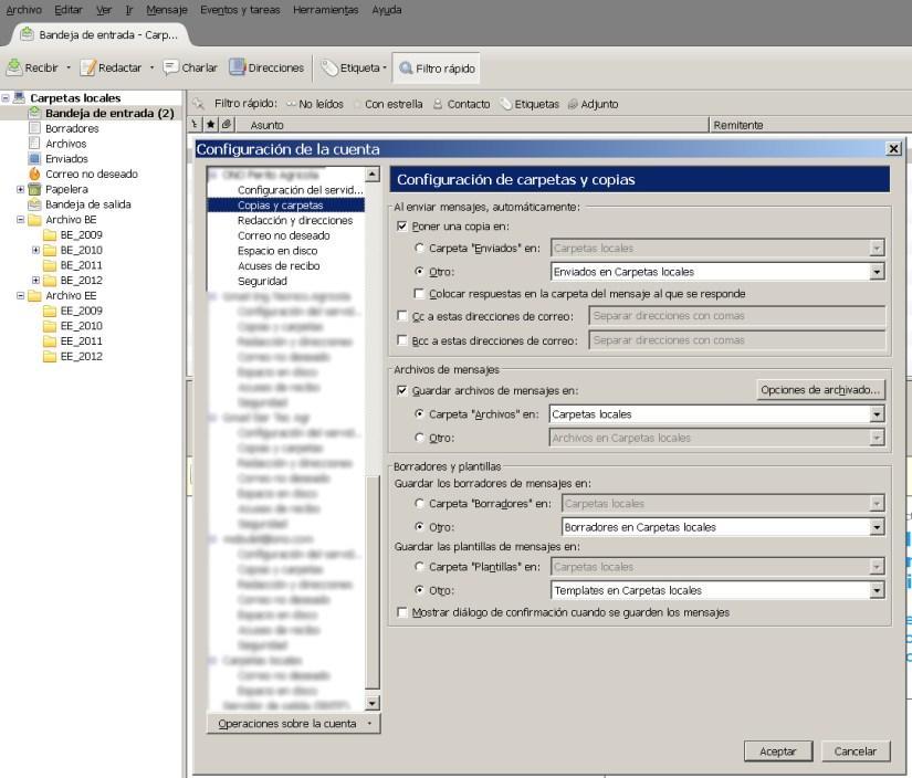 Thunderbird configuracion cuenta de correo copias y carpetas
