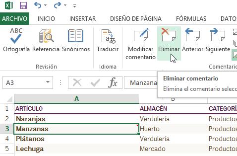 Cómo añadir comentarios en Excel - Opción para eliminar comentario
