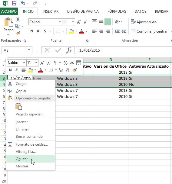 Cómo ocultar y mostrar filas en Excel - Menú con la opción Olcultar