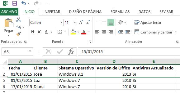 Cómo ocultar y mostrar filas en Excel - Ejemplo luego de ocultar las filas.