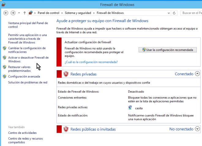 Pantalla roja cuando el Firewall de Windows ha sido desactivado