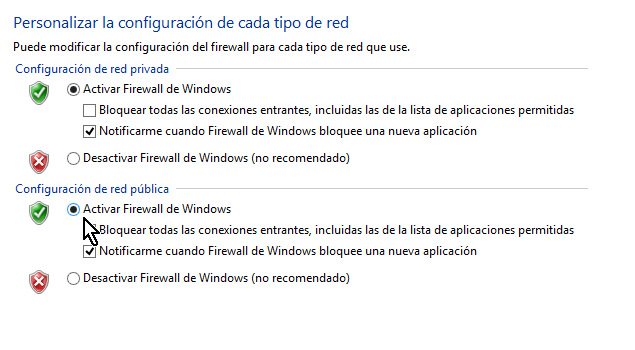 Activar el firewall de Windows 8 para la red pública