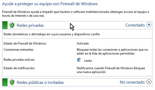 Al activar el firewall de Windows la ventana resalta con tonos verdes