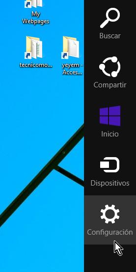 """Cómo apagar o reiniciar tu computadora en Windows 8 - Menú a la derecha del """"Escritorio"""""""