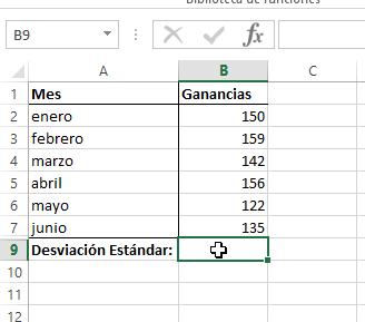 Celda de Excel para mostrar resultado de calcular la desviación estándar