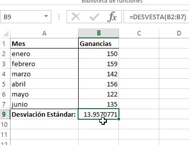 Celda con el resultado del cálculo de la desviación estándar en Excel