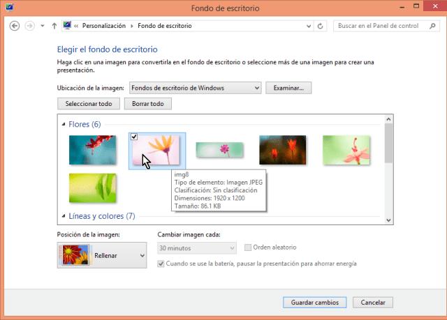 Cómo cambiar el fondo del escritorio en Windows - Selecciona la imagen que te guste