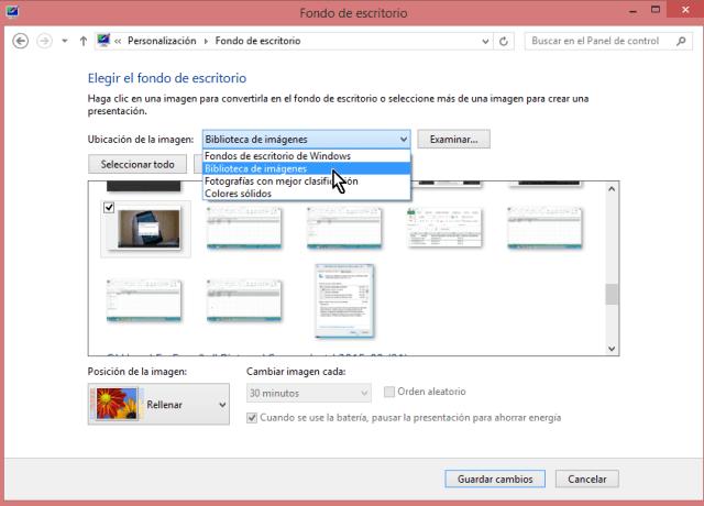 """Cómo cambiar el fondo del escritorio en Windows - Selecciona la opción """"Biblioteca de imágenes"""""""