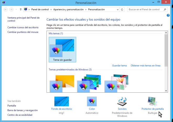 """Cómo cambiar el protector de pantalla en Windows - Dale clic a """"Protector de pantalla"""""""