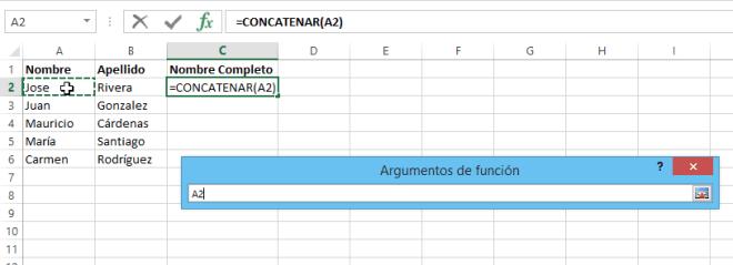 Cómo concatenar en Excel - Elige la celda a concatenar