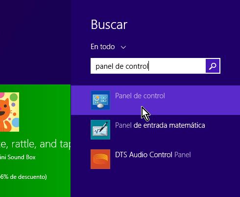 Botón de buscar en la pantalla de Inicio de Windows
