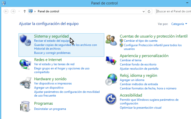 """Categoría """"Sistema y seguridad"""" del Panel de Control de Windows 8"""
