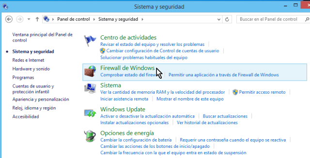 """Firewall de Windows"" en el Panel de control de Windows 8"