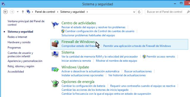 """""""Firewall de Windows"""" en el Panel de control de Windows 8"""