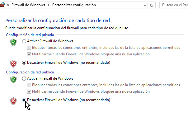 Desactivar el Firewall de Windows en la red pública