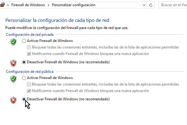 Desactivar el Firewall de Windows en la red pública
