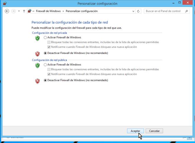 "Botón ""Aceptar"" para desactivar el Firewall de Windows"