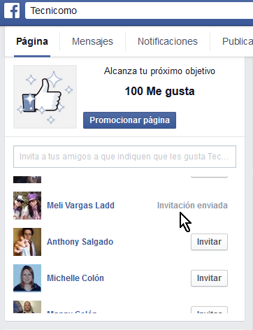 """Cómo invitar a tus amigos a darle like a tu página de Facebook - Indicador de """"Invitación enviada"""""""
