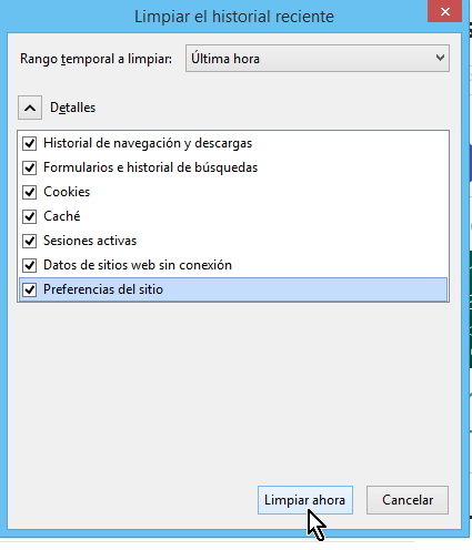 """Cómo limpiar el historial de navegación en Firefox - Botón """"Limpiar ahora"""""""