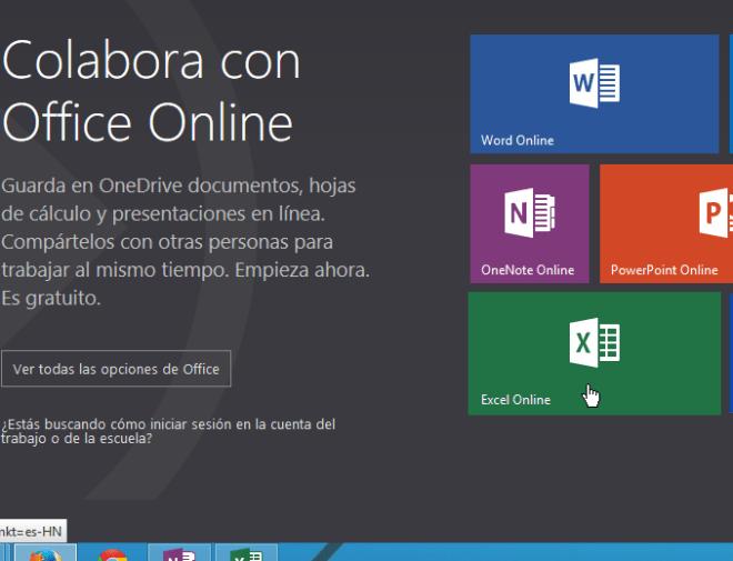 Captura de la página oficial de Microsoft Office Online
