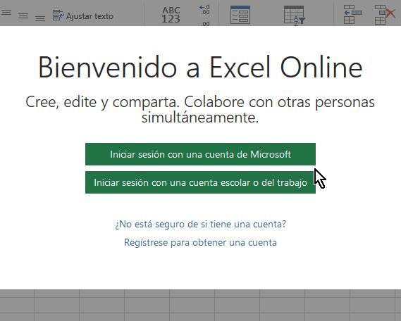 Página para ingresar a Excel Online